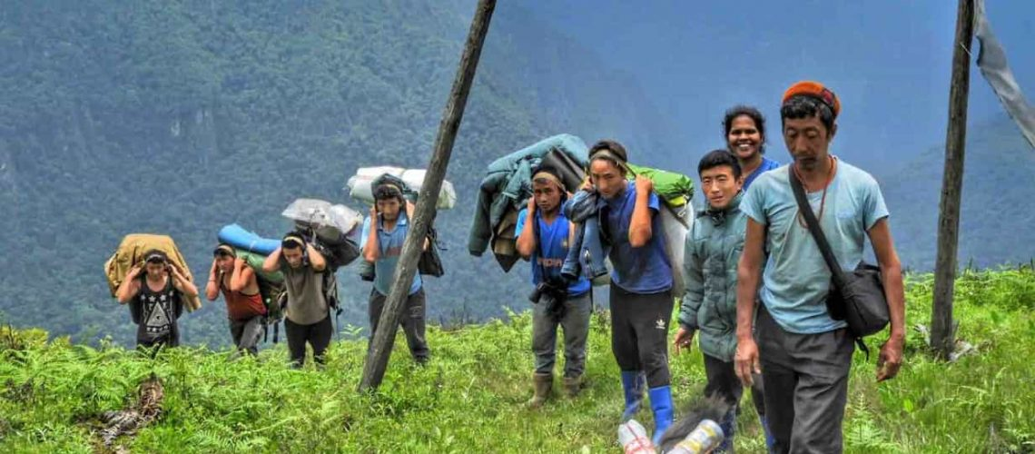 My team and I while surveying forests in Zemithang, Tawang district